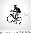 Abstract silhouette of bicyclist. Black bike 25912870