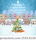 Christmas postcard with vintage Christmas street 25914236