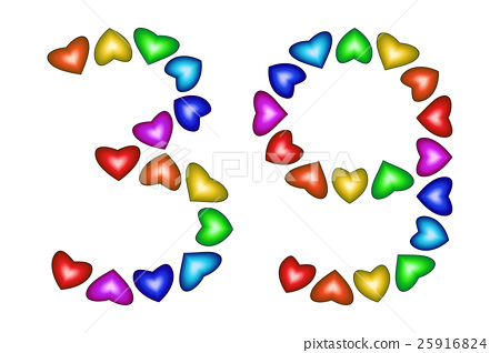 Number 39, thirty nine of colorful hearts on white 25916824