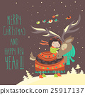 Cute girl hugging reindeer 25917137