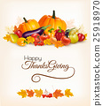 Happy Thanksgiving background with autumn leaves 25918970