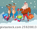 Santa Claus Business Man With Reindeer Present Box 25920813