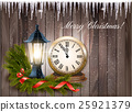 Christmas background with a lantern and clock 25921379