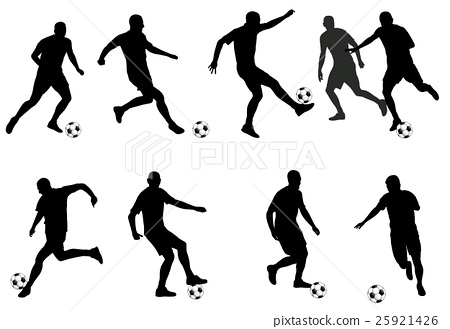 soccer players  silhouettes 25921426