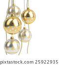 glossy golden christmas bulbs isolated on white 25922935