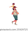 Little boy sitting on father shoulders and 25929725