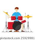 Drum Player Man. Vector 25929981