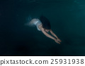 Woman mermaid under water. 25931938