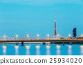 bridge, illuminated, latvia 25934020