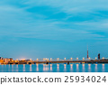 Riga Latvia. Illuminated Two Bridges: Stone And 25934024