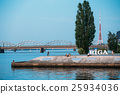 Riga Latvia. Embankment At Daugava River With City 25934036