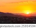 Beautiful Sunset Sunrise Over Mountain and city 25934594