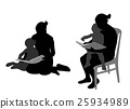 mother reading book to child silhouettes 25934989