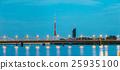 Riga Latvia. Illuminated Two Bridges: Stone And 25935100