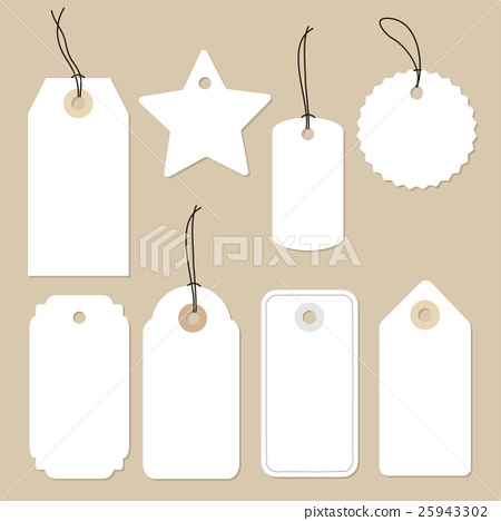 Stock Illustration: Set of various blank white paper tags, labels