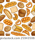 Bread pattern. Bakery seamless sketch icons 25943506