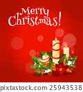 Christmas candle floral arrangement greeting card 25943538