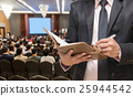 Businessman writing the notebook on the Abstract blurred photo of conference hall or seminar room with attendee background 25944542