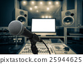 Microphone over the Abstract blurred photo of music studio recording room background, musical concept 25944625