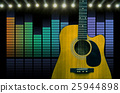 Guitar over the sound waves equalizer background, musical instrument concept 25944898