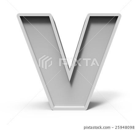 3d concrete letter V 25948098