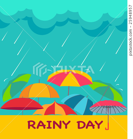 background with clouds, raindrops and umbrellas, 25948957