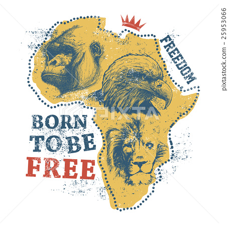 Africa map with animal faces. 25953066