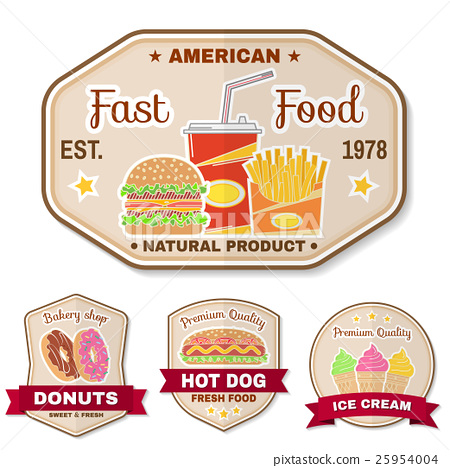 Vintage fast food badge, banner or logo emblem. 25954004