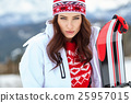 beautiful woman with a snowboard 25957015