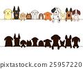대형 개와 작은 개 보더 실루엣 25957220