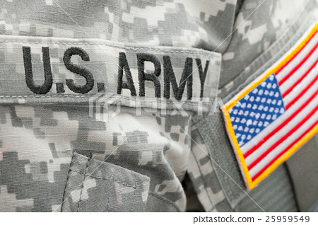 US flag and U.S. ARMY patch on military uniform 25959549