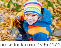 happy cute little kid boy with autumn leaves 25962474