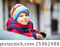 happy cute little kid boy on autumn day in 25962488