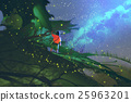 boy standing on leaves looking at a night sky 25963201