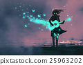 girl playing guitar with a blue light 25963202