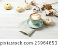 Pumpkin spice latte. Coffee cup on white wood 25964653