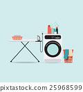 Laundry room with washing machine  ironing board. 25968599
