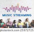 Online Music Audio Music Streaming Wave Graphic Concept 25972725