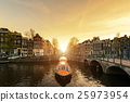 Amsterdam canal cruise ship with Netherlands house 25973954