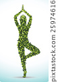 Green leaf shape, Yoga lotus position, 25974616