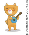Cute cat playing the ukulele vector illustration 25975186