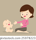 baby, mother, playing 25978223