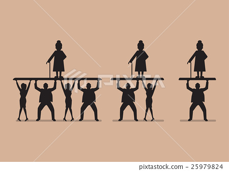 Ratio of Workers to Pensioners in silhouette 25979824