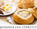 Polish Easter soup. Cream soup in bread 25982313