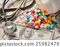 Pills and money and stethoscope on the table 25982470