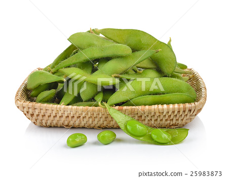 green soybeans in the basket on white background 25983873