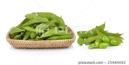 green soybeans in the basket on white background 25984092