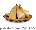 Bamboo shoots in the basket on white background 25984127