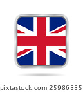 flag of Great Britain, metallic gray square button 25986885