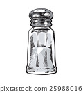 Hand drawn salt mill, shaker, grinder, isolated 25988016